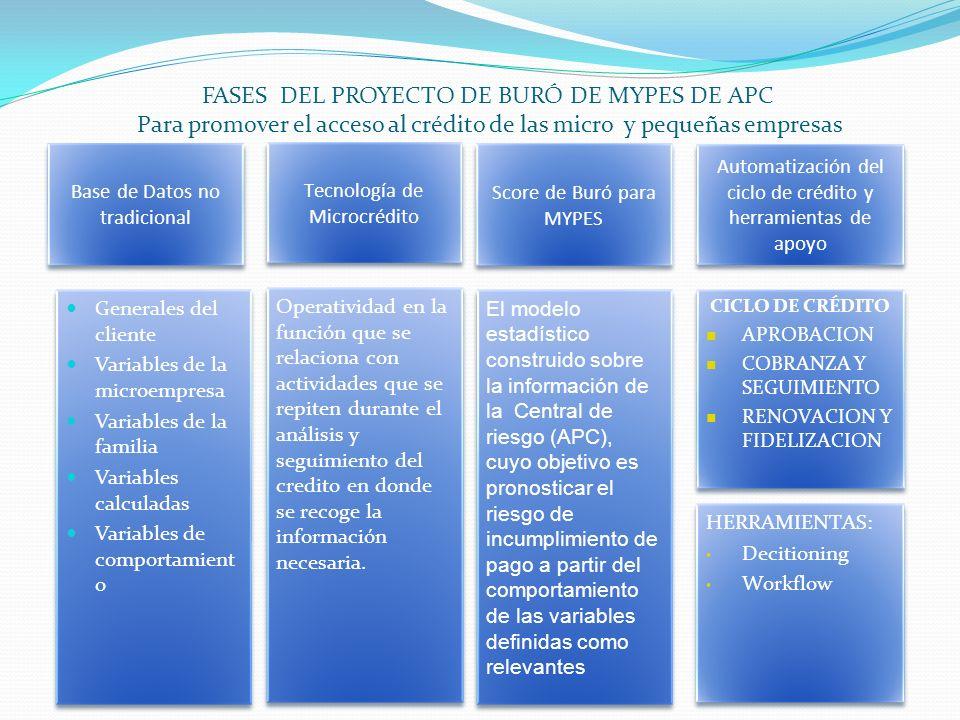 FASES DEL PROYECTO DE BURÓ DE MYPES DE APC