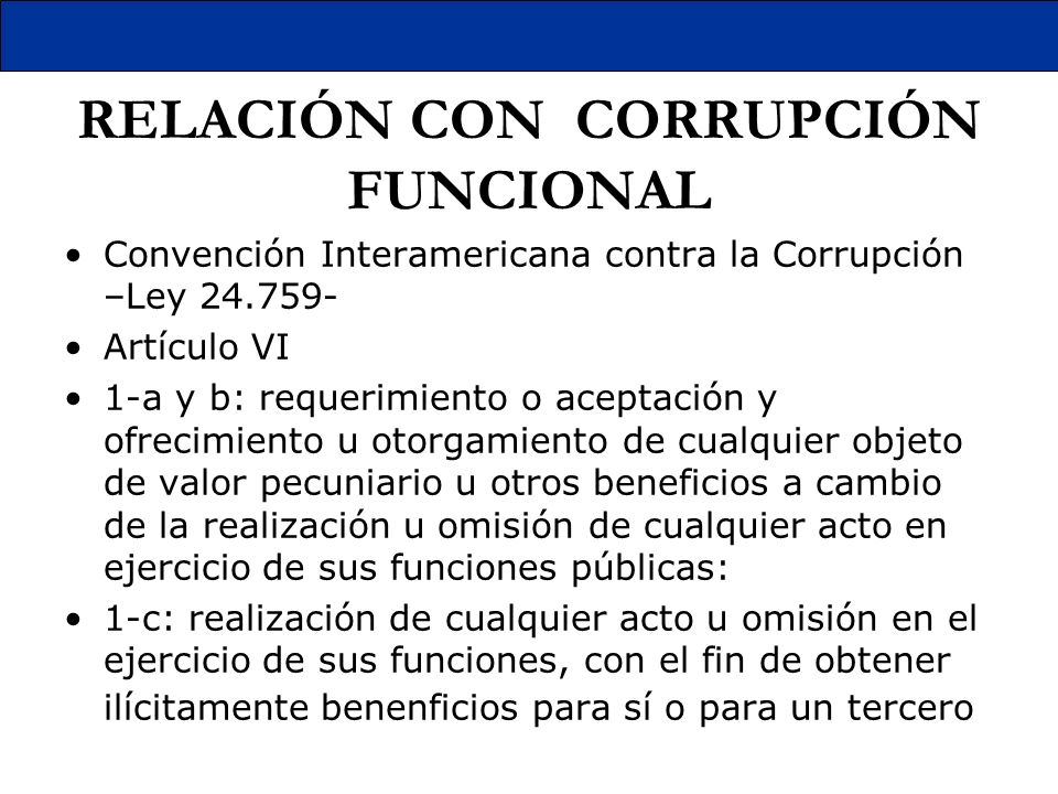 RELACIÓN CON CORRUPCIÓN FUNCIONAL