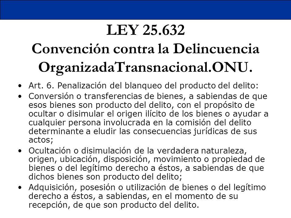 LEY 25. 632 Convención contra la Delincuencia OrganizadaTransnacional