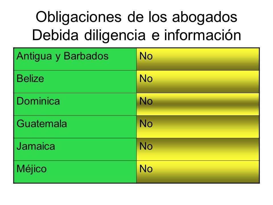 Obligaciones de los abogados Debida diligencia e información
