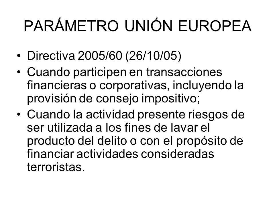 PARÁMETRO UNIÓN EUROPEA