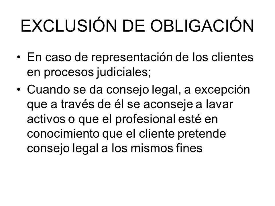 EXCLUSIÓN DE OBLIGACIÓN