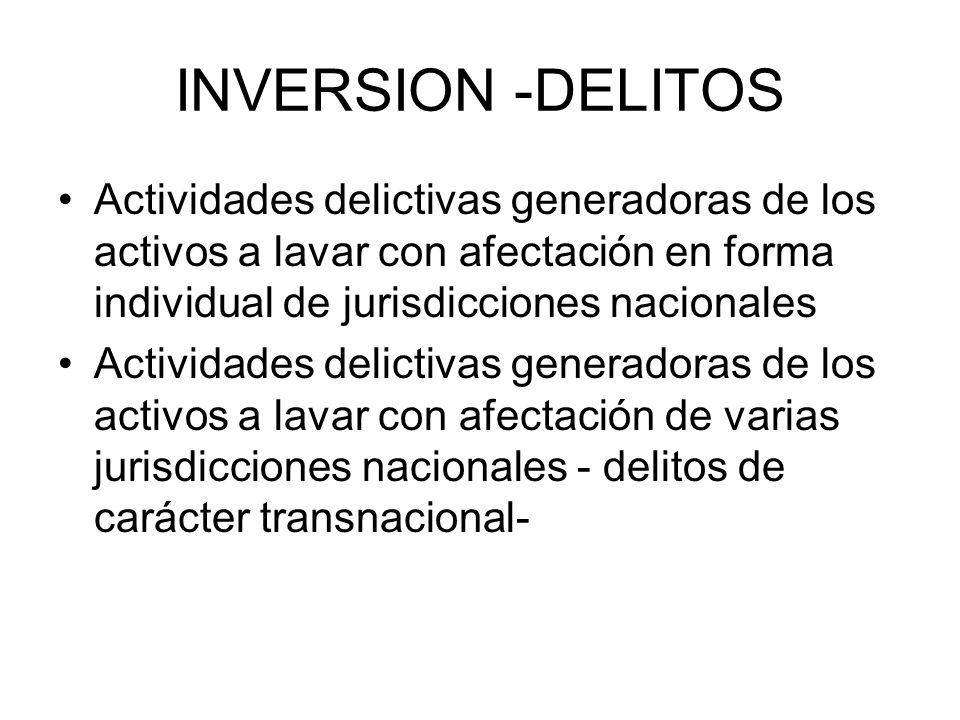INVERSION -DELITOS Actividades delictivas generadoras de los activos a lavar con afectación en forma individual de jurisdicciones nacionales.