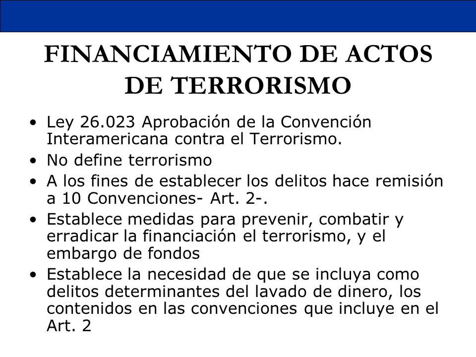 FINANCIAMIENTO DE ACTOS DE TERRORISMO