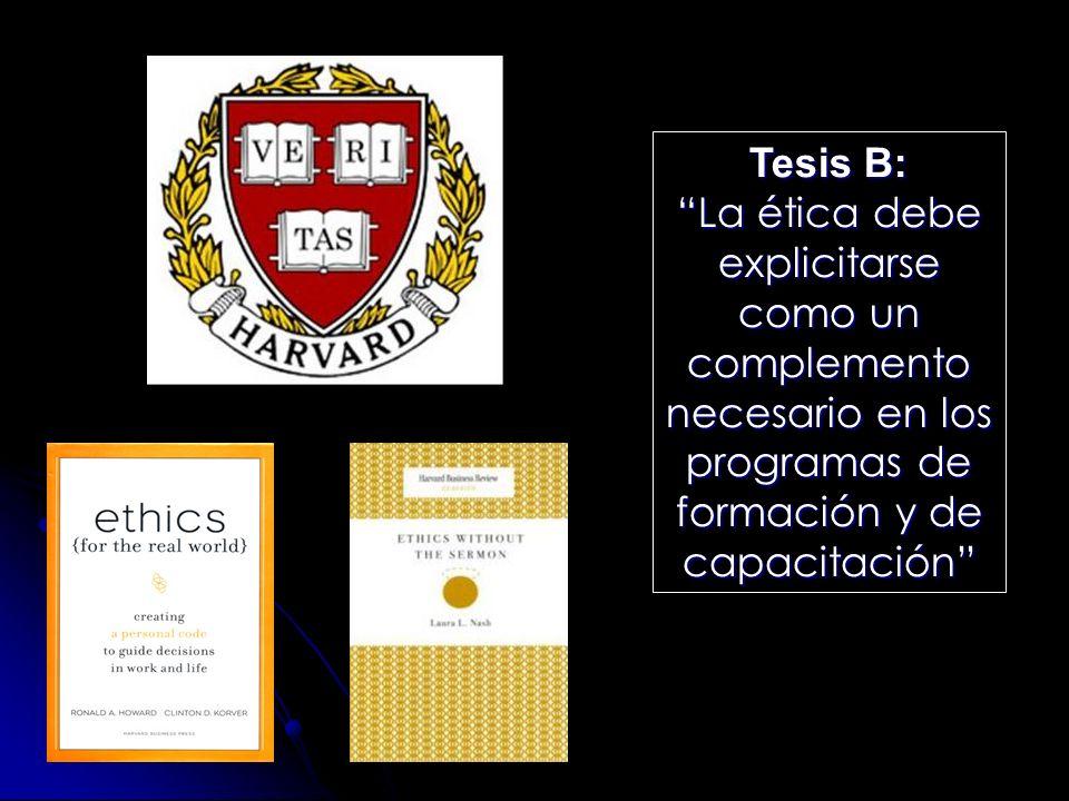 Tesis B: La ética debe explicitarse como un complemento necesario en los programas de formación y de capacitación