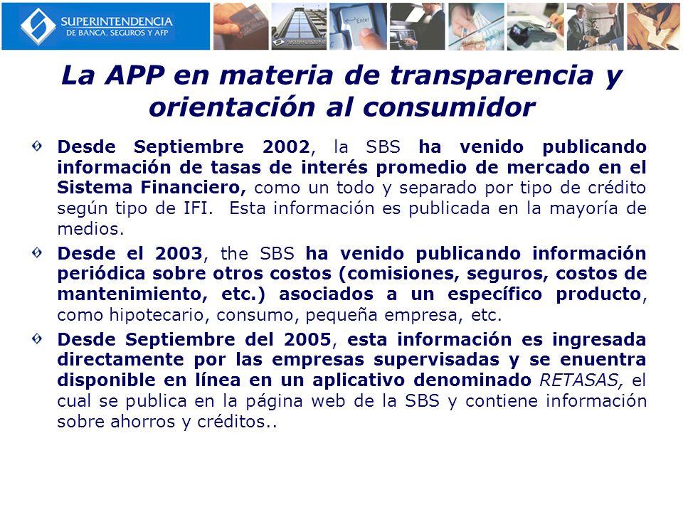La APP en materia de transparencia y orientación al consumidor
