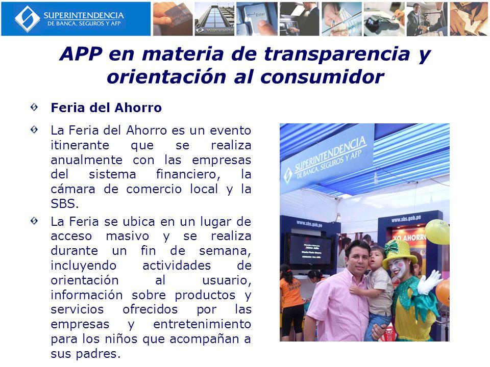 APP en materia de transparencia y orientación al consumidor