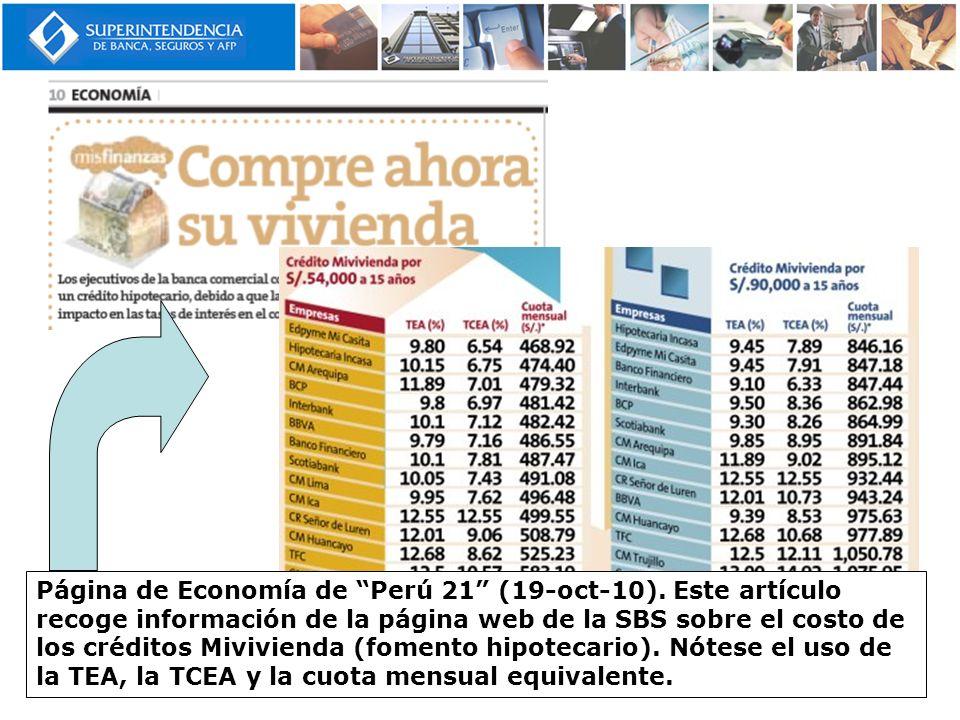 Página de Economía de Perú 21 (19-oct-10)