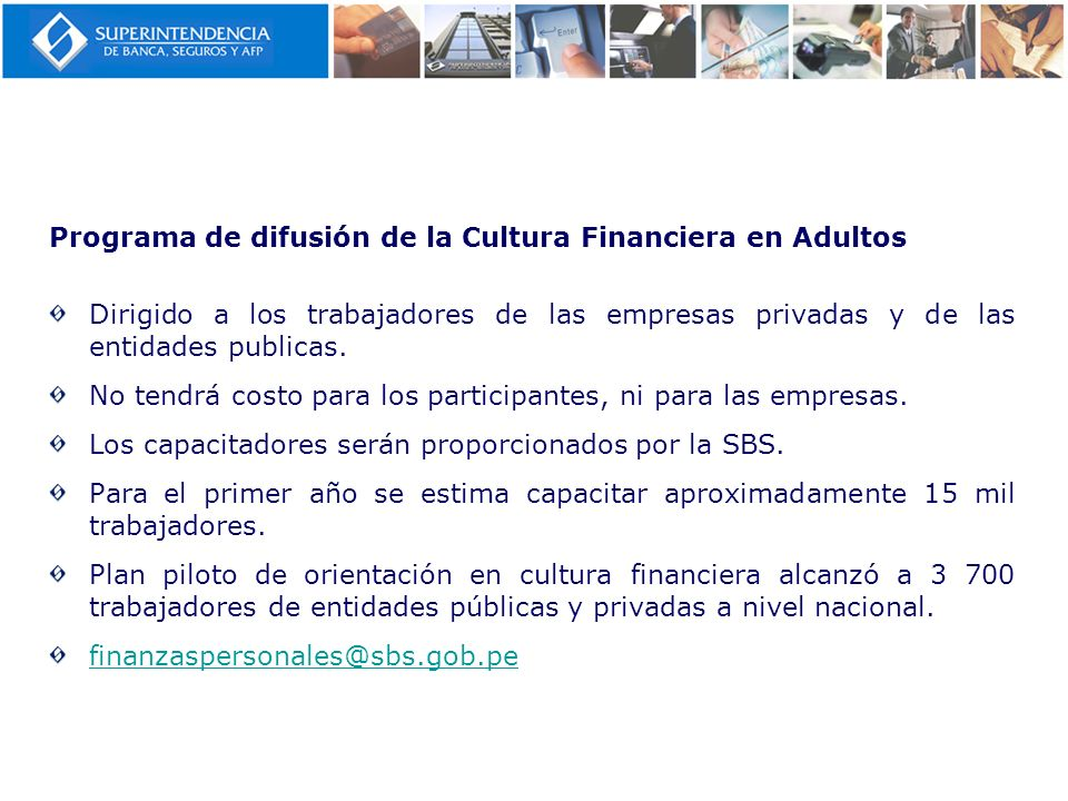 Programa de difusión de la Cultura Financiera en Adultos