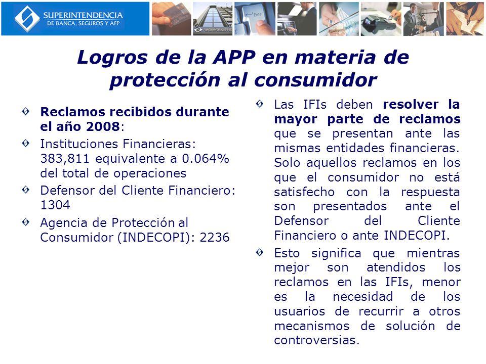 Logros de la APP en materia de protección al consumidor