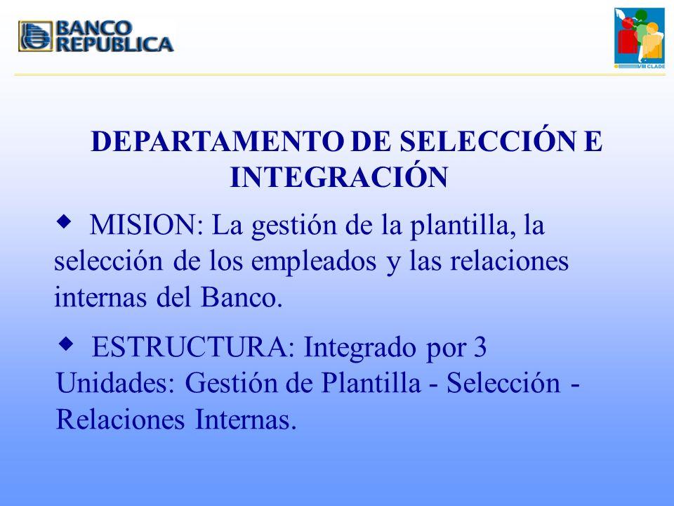 DEPARTAMENTO DE SELECCIÓN E INTEGRACIÓN