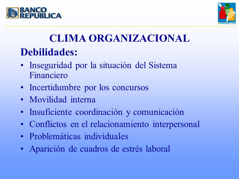 CLIMA ORGANIZACIONAL Debilidades: