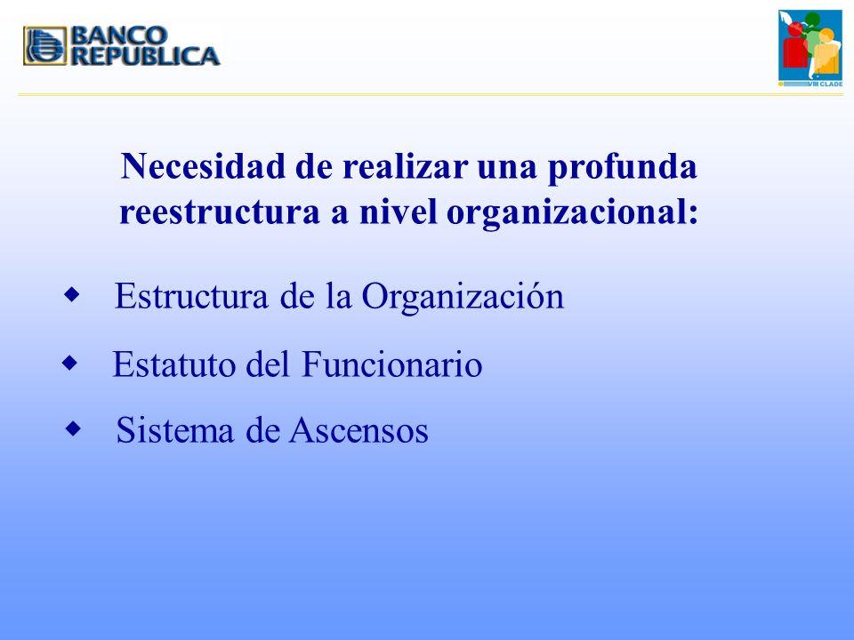 Necesidad de realizar una profunda reestructura a nivel organizacional: