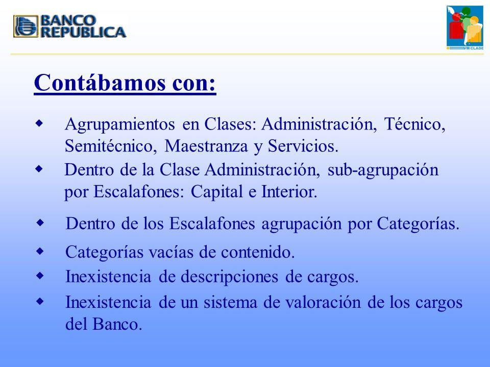 Contábamos con: Agrupamientos en Clases: Administración, Técnico, Semitécnico, Maestranza y Servicios.