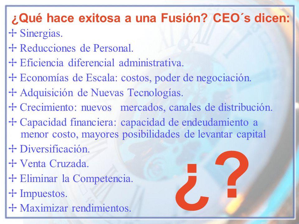 ¿ ¿Qué hace exitosa a una Fusión CEO´s dicen: Sinergias.