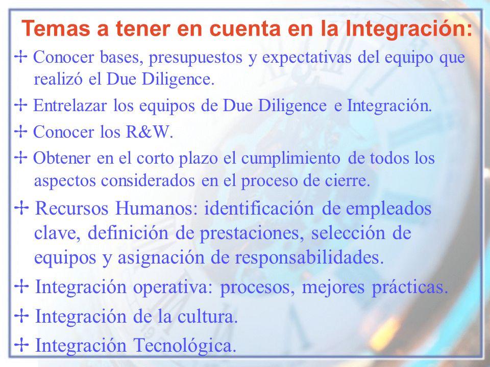 Temas a tener en cuenta en la Integración: