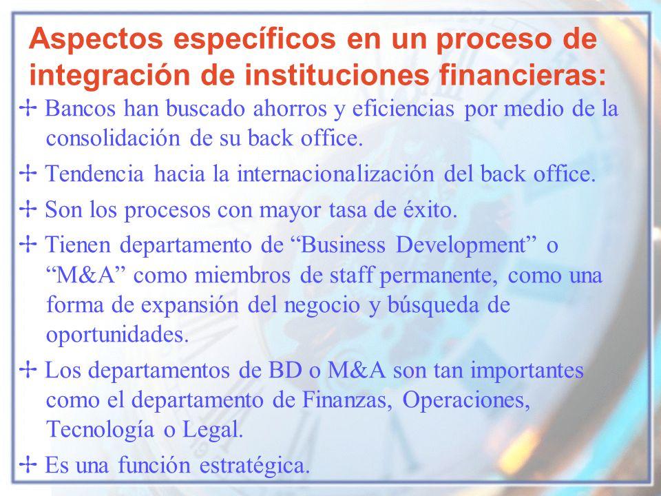 Aspectos específicos en un proceso de integración de instituciones financieras: