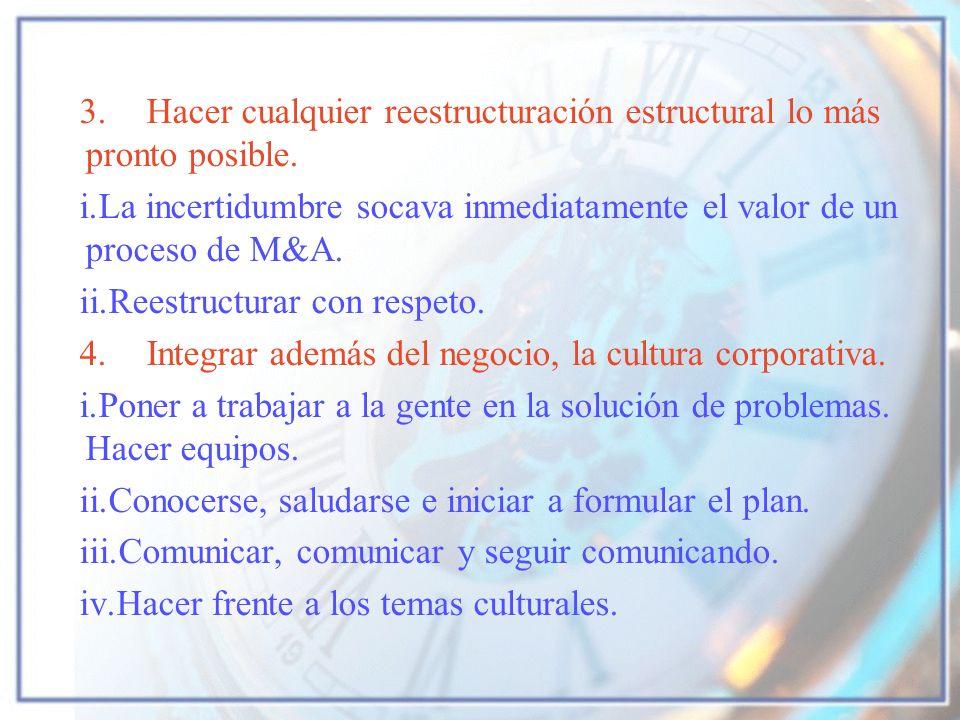 3. Hacer cualquier reestructuración estructural lo más pronto posible.