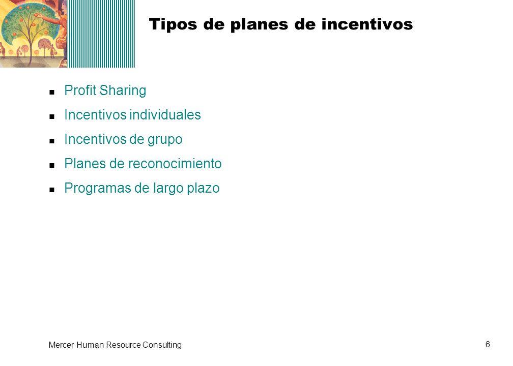 Tipos de planes de incentivos