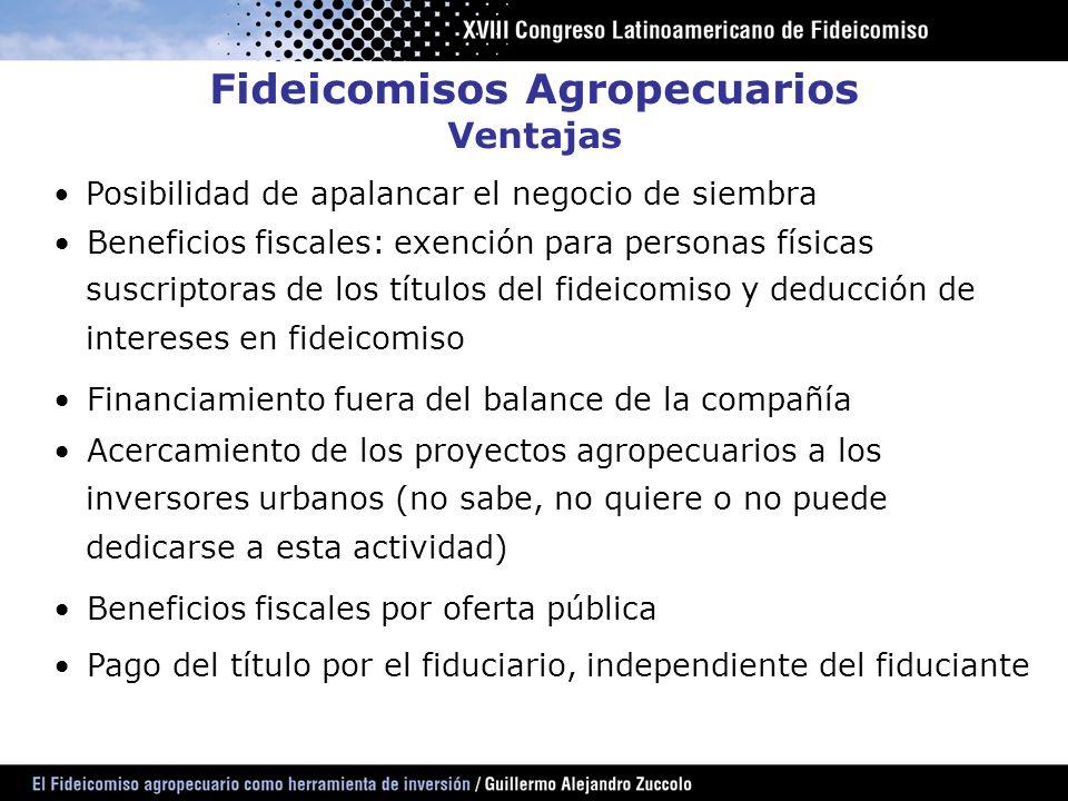 Fideicomisos Agropecuarios Ventajas
