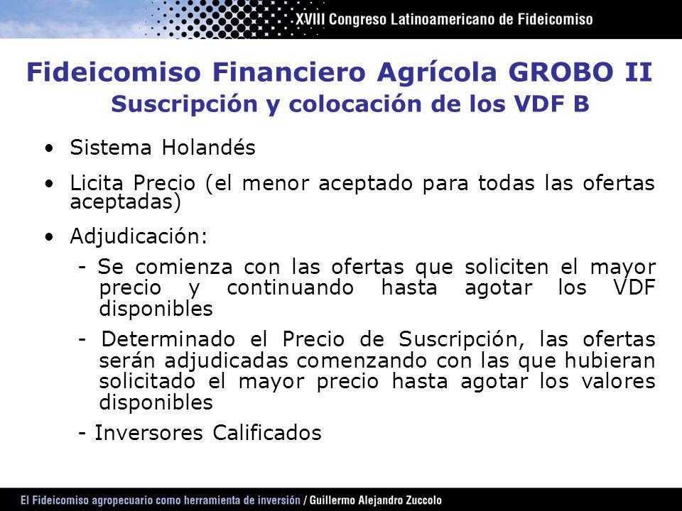 Suscripción y colocación de los VDF B
