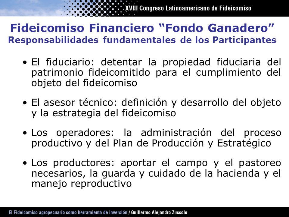 Fideicomiso Financiero Fondo Ganadero Responsabilidades fundamentales de los Participantes