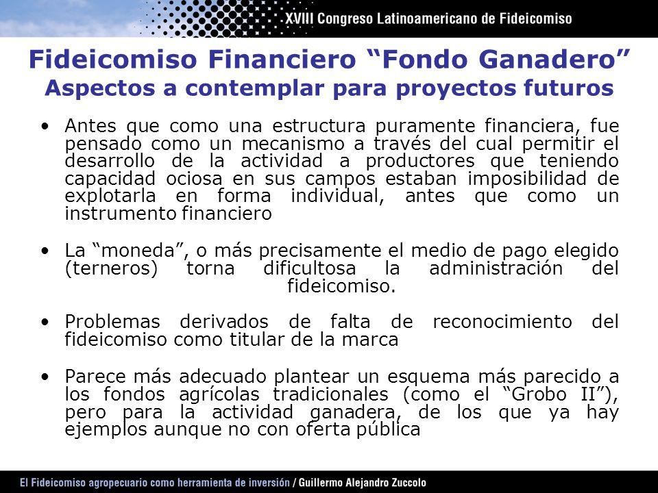 Fideicomiso Financiero Fondo Ganadero Aspectos a contemplar para proyectos futuros