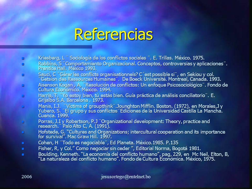 Referencias Kriesberg, L ¨ Sociología de los conflictos sociales ¨. E. Trillas. México. 1975.