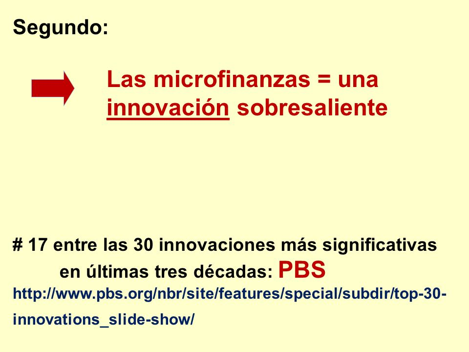 Las microfinanzas = una innovación sobresaliente