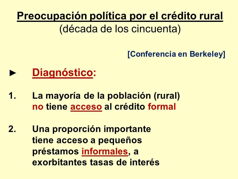 Preocupación política por el crédito rural