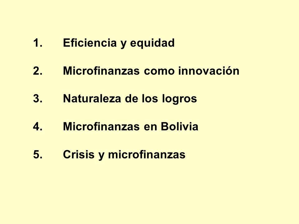 Eficiencia y equidad Microfinanzas como innovación. Naturaleza de los logros. Microfinanzas en Bolivia.