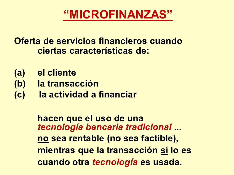 MICROFINANZAS Oferta de servicios financieros cuando ciertas características de: (a) el cliente.