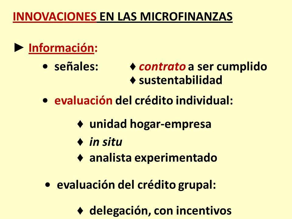 INNOVACIONES EN LAS MICROFINANZAS ► Información: