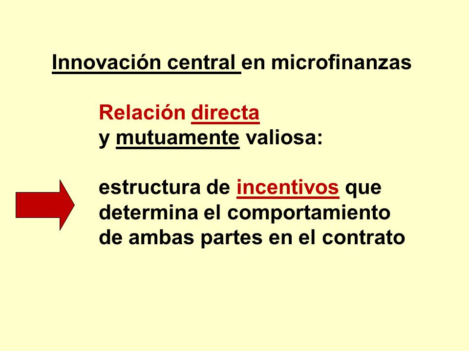 Innovación central en microfinanzas