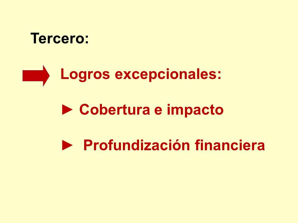 Tercero: Logros excepcionales: ► Cobertura e impacto ► Profundización financiera