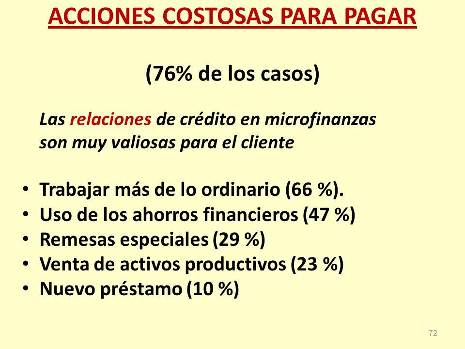 ACCIONES COSTOSAS PARA PAGAR (76% de los casos)