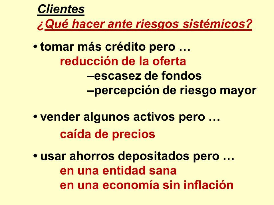 Clientes ¿Qué hacer ante riesgos sistémicos • tomar más crédito pero … reducción de la oferta. –escasez de fondos.