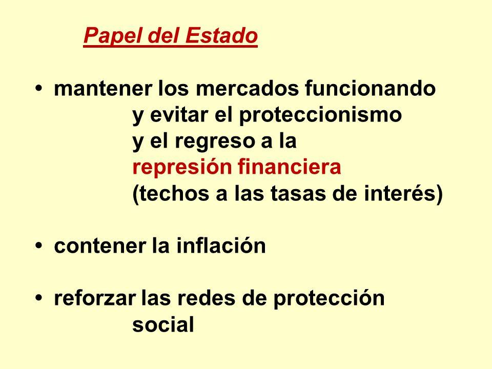 Papel del Estado • mantener los mercados funcionando. y evitar el proteccionismo. y el regreso a la.