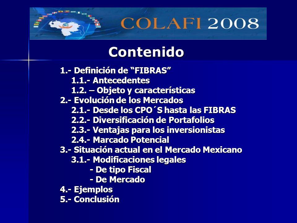 Contenido 1.- Definición de FIBRAS 1.1.- Antecedentes