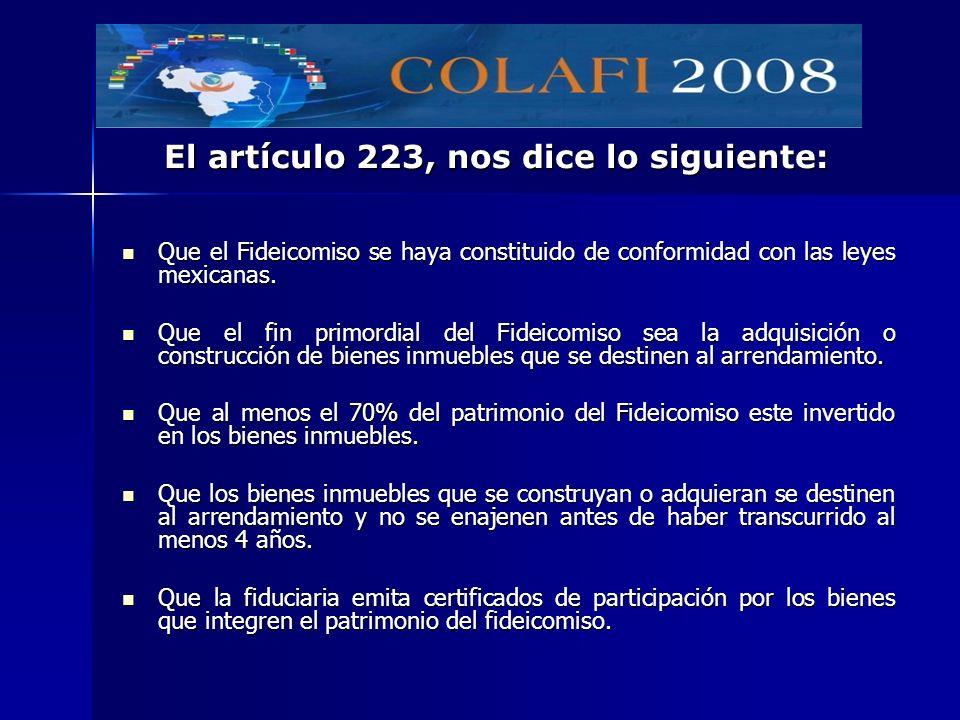 El artículo 223, nos dice lo siguiente: