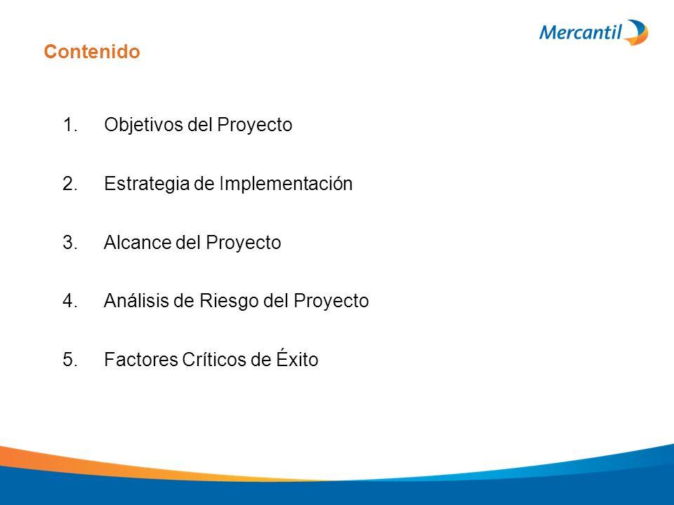Contenido 1. Objetivos del Proyecto 2. Estrategia de Implementación