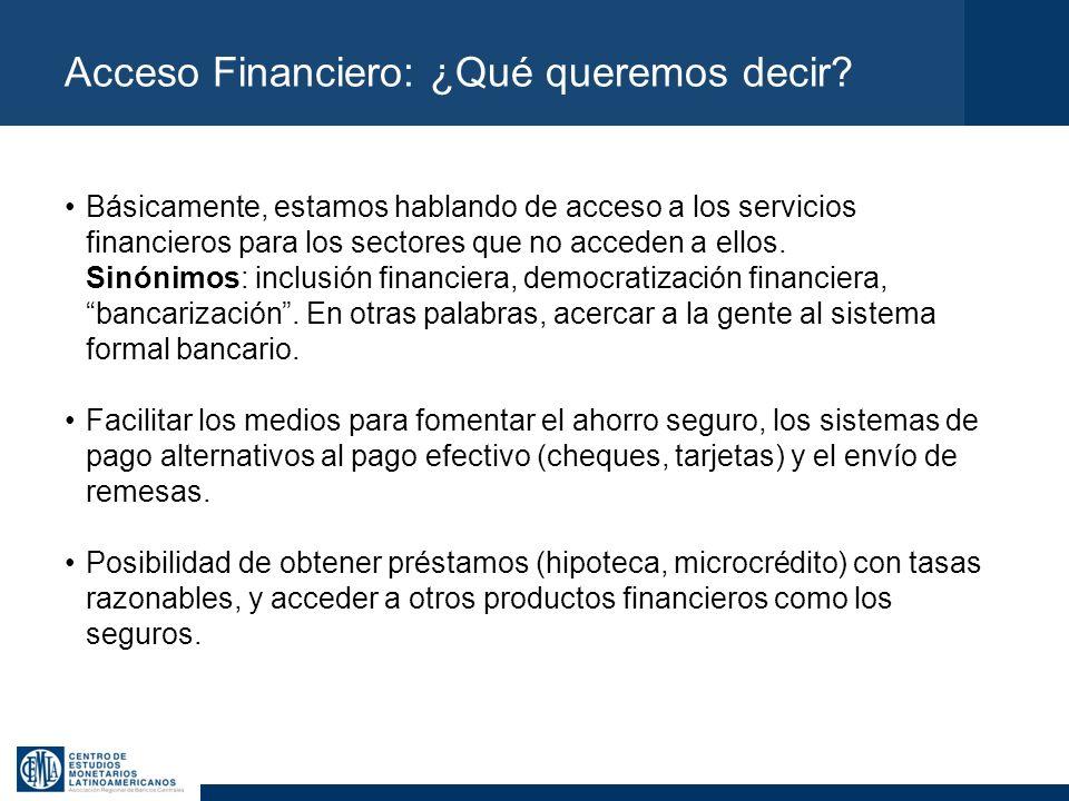 Acceso Financiero: ¿Qué queremos decir