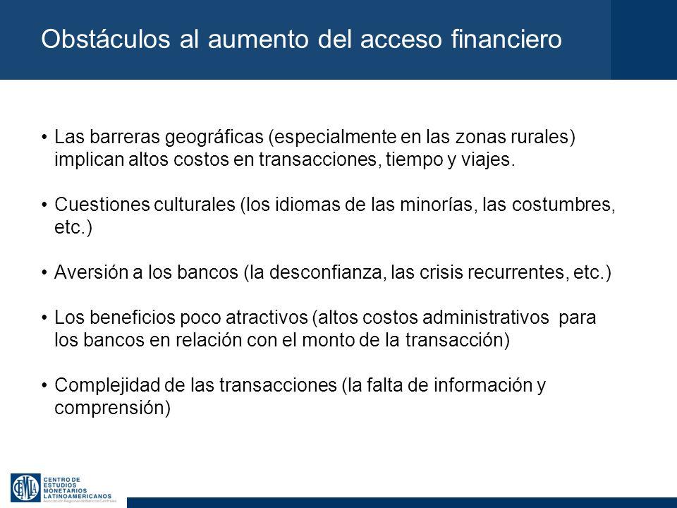 Obstáculos al aumento del acceso financiero