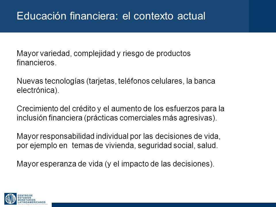 Educación financiera: el contexto actual