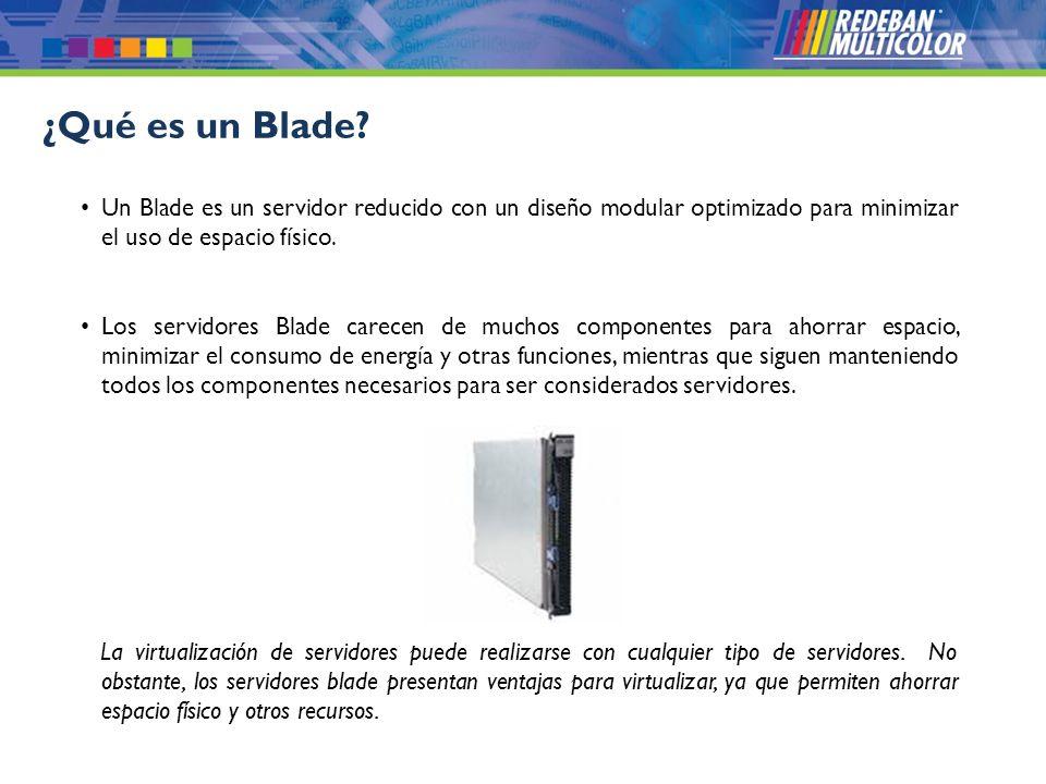 ¿Qué es un Blade Un Blade es un servidor reducido con un diseño modular optimizado para minimizar el uso de espacio físico.