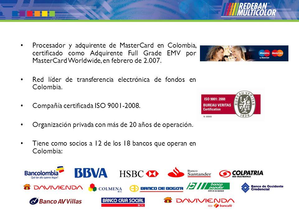 Procesador y adquirente de MasterCard en Colombia, certificado como Adquirente Full Grade EMV por MasterCard Worldwide, en febrero de 2.007.