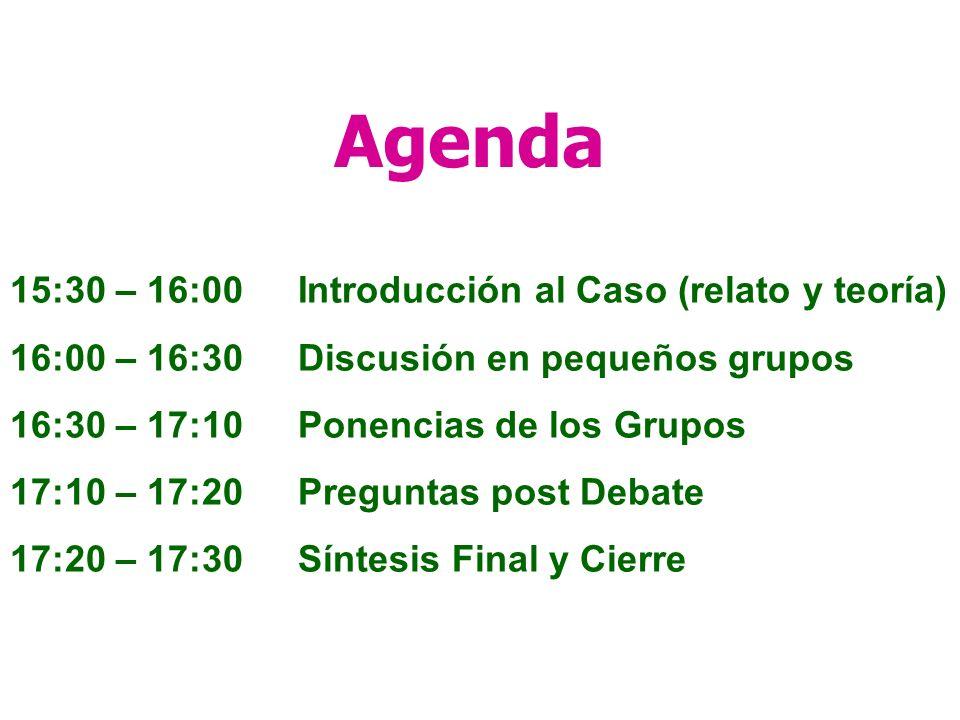 Agenda 15:30 – 16:00 Introducción al Caso (relato y teoría)