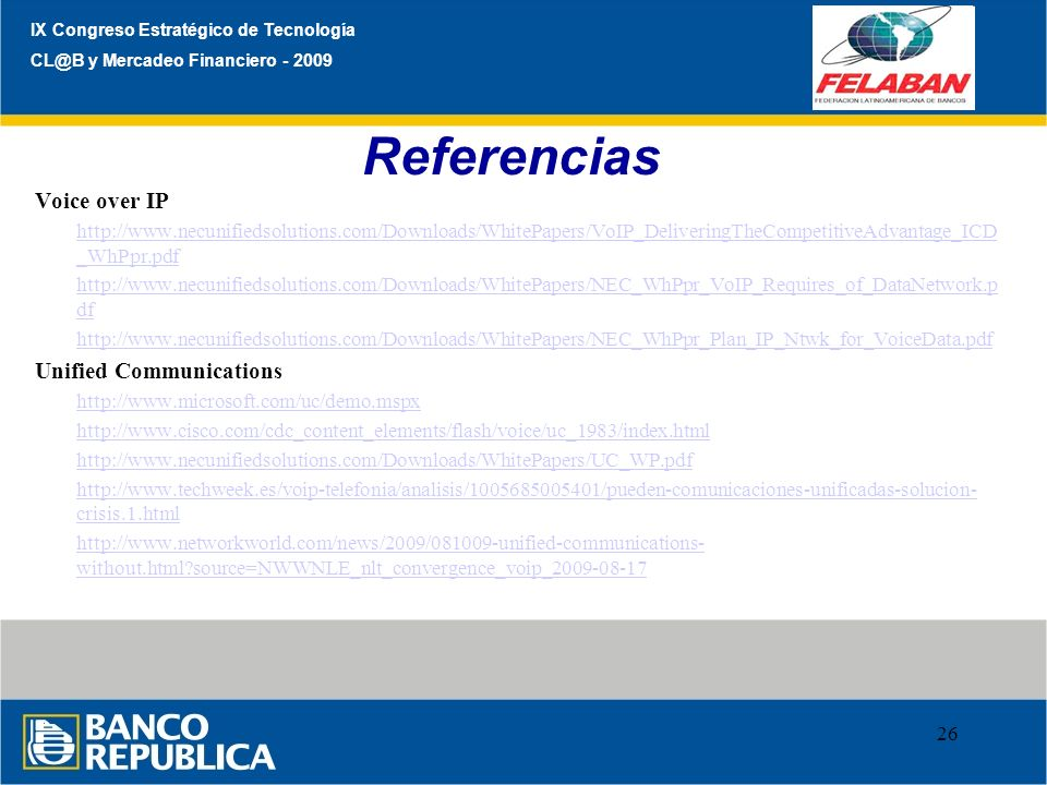 Referencias Voice over IP Unified Communications