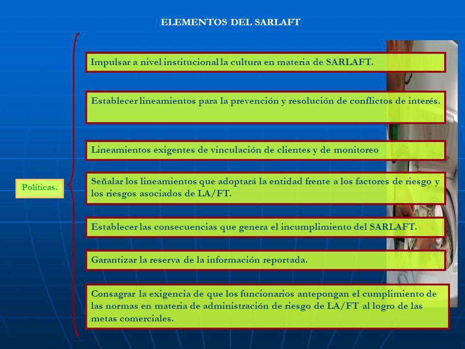 Impulsar a nivel institucional la cultura en materia de SARLAFT.