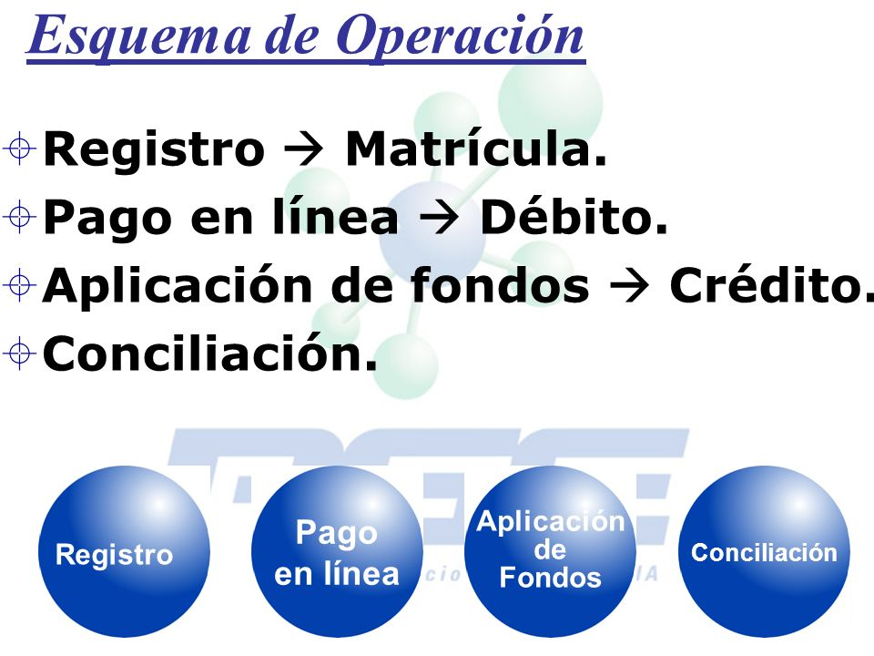 Esquema de Operación Registro  Matrícula. Pago en línea  Débito.